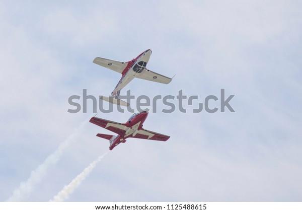 Niagara Falls NY, USA, June 10 2018 - Canadian Forces Snowbirds performing at Thunder of Niagara Air Show