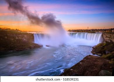 Niagara Falls in Ontario Canada during sunrise
