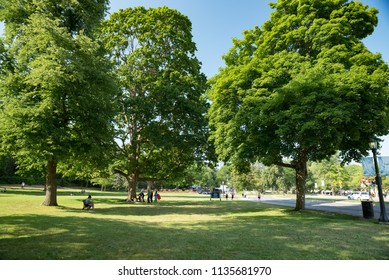 Niagara Falls, Ontario, Canada - July 4, 2018:  Queen Victoria Park and Niagara Parkway in the summer.