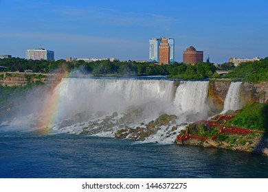 Niagara Falls, Ontario, Canada - July 3, 2019 - View of the American Falls with the Maid of the Mist on the Niagara River