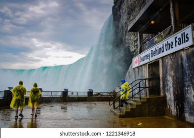 Niagara Falls, Ontario / Canada - May 28, 2013: Journey Behind the Falls is an attraction in Niagara Falls, Ontario located in the Table Rock Centre beside the Canadian Horseshoe Falls.