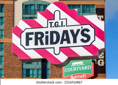 Niagara Falls, Ontario, Canada - September 3, 2019: Sign of T.G.I Fridays in Niagara falls, Ontario, Canada. TGI Fridays is an American restaurant chain focusing on casual dining.