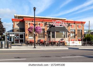 Niagara Falls, Ontario, Canada - September 3, 2019: Mama Mia's Restaurant with blue sky in Niagara Falls, Ontario, Mama Mia's is a Italian Restaurant has served locals and tourists alike since 1958.