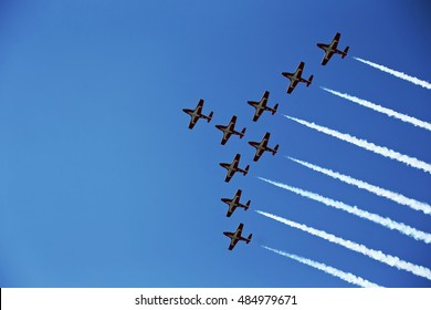 NIAGARA FALLS, ONTARIO, CANADA - September 13 2016. Canadian Snowbirds demonstrate their synchronized piloting skills , taken on September 13, 2016, in Niagara Falls.