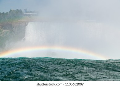 Niagara Falls, Ontario, Canada.  View of Canadian Horseshoe Falls from upstream in summer and tourists in background viewing from the American side from Terrapin Point on Goat Island.