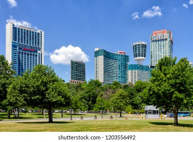 Niagara Falls, Ontario, June 15, 2018: Hotels in the Niagara Falls city center. The city has many business and entertainments options for tourism - Casino, Hotels, Bars