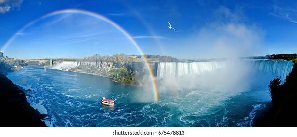 Niagara Falls panorama with rainbow, Canadian Falls