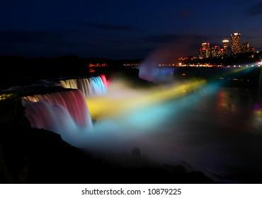 Niagara Falls rainbow at night