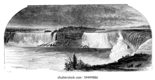 """Niagara falls seen from Canada side. Illustration originally published in Hesse-Wartegg's """"Nord Amerika"""", swedish edition published in 1880."""