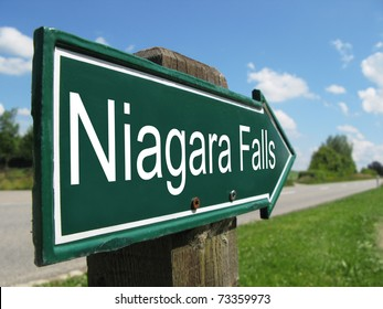 NIAGARA FALLS signpost along a rural road