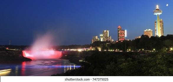 Niagara Falls skyline illuminated at night, Ontario, Canada