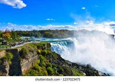 Niagara Falls State Park on Autumn season. Niagara Falls is a city in Niagara County, New York, United States.