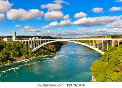Niagara Falls State Park on Autumn season. Niagara Falls is a city in Niagara County, New York, United States.