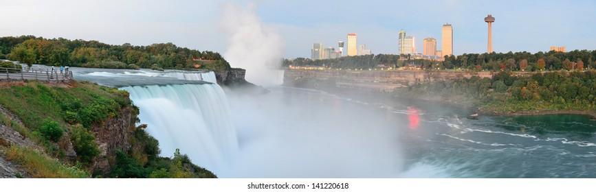 Niagara Falls sunrise panorama in the morning closeup