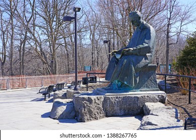 NIAGARA FALLS, USA -27 MAR 2019- View of a statue of inventor Nikola Tesla in the Niagara Falls State Park in Niagara Falls, New York, United States.