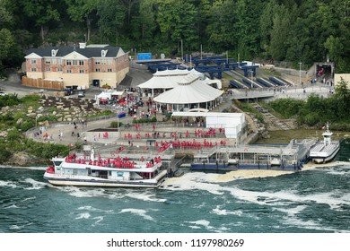 Niagara Falls, USA – August 29, 2018: The passengers get on the boat to get close to Horseshoe Niagara fall