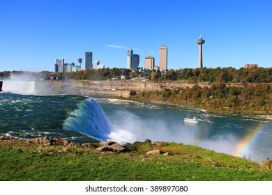 NIAGARA FALLS, USA - OCTOBER 12, 2015- View of Niagara Falls in autumn.