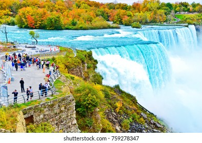 Niagara Falls, USA - October 13, 2013: View of Niagara Falls from American side in autumn on October 13, 2013.