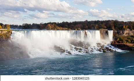 Niagara Falls.  A view of the American Falls, a part of the Niagara Falls.  The falls straddle the border between America and Canada.