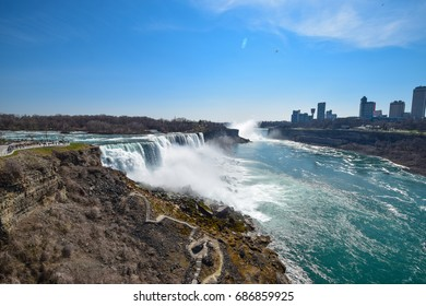 Niagara Falls view from the US side. View of Bridal Falls