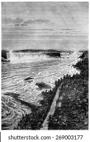 Niagara falls, vintage engraved illustration. Earth before man 1886.