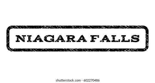 Niagara Falls watermark stamp. Text tag inside rounded rectangle frame with grunge design style. Rubber seal stamp with unclean texture. Raster black ink imprint on a white background.