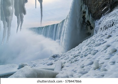 Niagara Falls in the winter with icicles