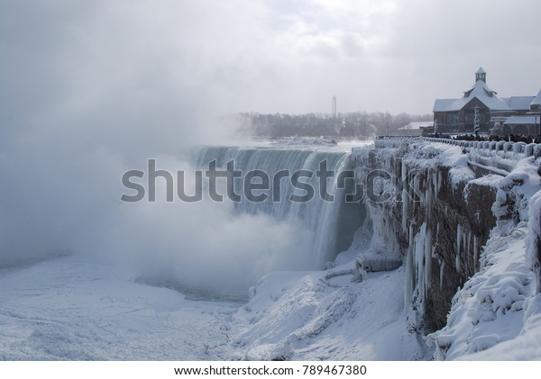 Niagara Falls Winter Icicles Snow Freezing Stock Photo (Edit