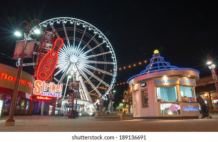 NIAGARA FALLS,CANADA-APRIL 18, 2014: Niagara SkyWheel is a 175-foot tall Ferris wheel in the middle of Clifton Hill, Niagara Falls, Ontario, Canada. It opened on 17 June 2006, at cost of $10 million