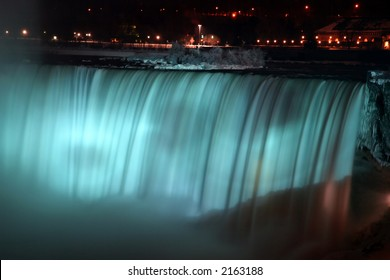 Niagara Horse Shoe Falls at Night with Blue Lights