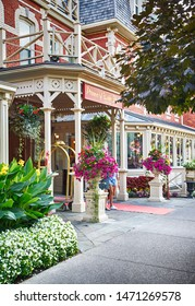NIAGARA ON THE LAKE, CANADA - AUGUST 3, 2019: Prince of Wales Hotel in Niagara On The Lake. Built in 1864, this hotel with 100 rooms is a landmark hotel, Ontario, Canada