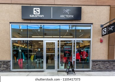 Niagara On the Lake, Canada- Mar.04, 2018: Salomon store front at Shops in Outlet Collection at Niagara. Salomon is a sports equipment manufacturing company.