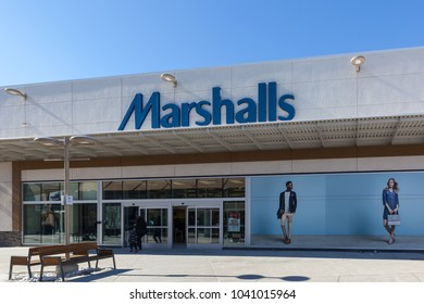 Niagara On the Lake, Canada- March 4, 2018: Marshalls storefront in Outlet Collection at Niagara. Marshalls is a chain of American off-price department stores.