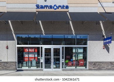 Niagara On the Lake, Canada- March 4, 2018: Samsonite storefront in Outlet Collection at Niagara. Samsonite International S.A. is an American luggage manufacturer and retailer.
