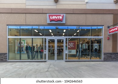 Niagara On the Lake, Canada- March 4, 2018: Levi's storefront in Outlet Collection at Niagara, operated by an American company Levi Strauss & Co.