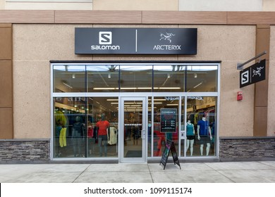Niagara On the Lake, Canada- May 20, 2018: Salomon store front at Shops in Outlet Collection at Niagara. Salomon is a sports equipment manufacturing company.