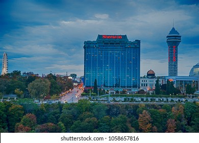 Niagara on the Lake, Canada - October 14 : View of Sheraton Hotel and Casino at evening autumn day in Canada on October 14, 2014.