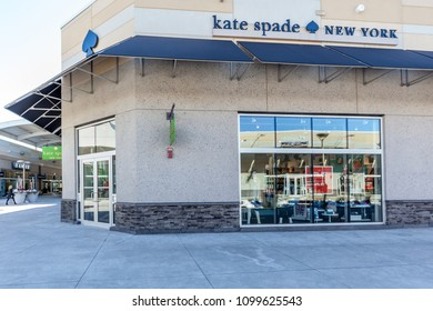 Niagara On the Lake, Ontario, Canada - March 04, 2018: Kate Spade New York  storefront in Outlet Collection at Niagara, an American fashion design house.