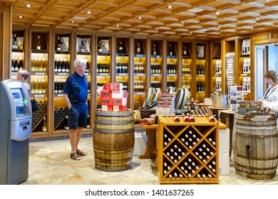 Niagara on the lake, Ontario, Canada - June 14, 2018: Wine Bottles for Sale in a Winery Shop in Niagara-on-the-lake.
