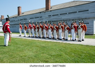 Niagara on the Lake, Ontario, Canada - July 13, 2015: Morning parade at Fort George Historic Site, prior to the raising of the Union Jack marking the opening of the site to the public.