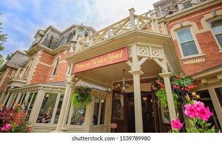 Niagara on the Lake, Ontario, Canada-15 August, 2019: Niagara On the Lake streets and restaurants during a busy tourist season at summer