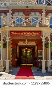 Niagara on the lake, Ontario - June 14, 2018: The Historic Prince of Wales Hotel in Niagara On The Lake, Ontario, Canada is a three story hotel with 100 rooms and was built in 1864.
