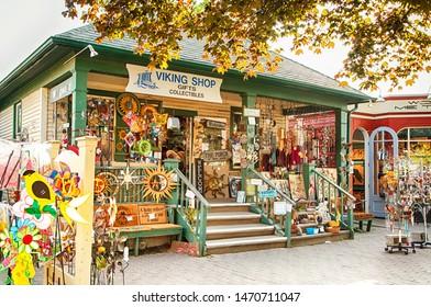 NIAGARA ON THE LAKE,CANADA - AUGUST 3, 2019: Gift shop on the famous tourist street in Niagara on the Lake, Otario, Canada