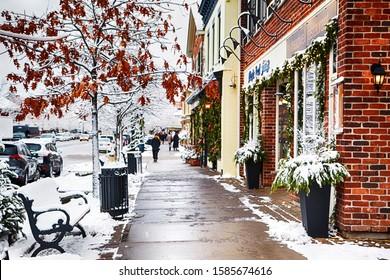NIAGARA ON THE LAKE,CANADA - DECEMBER 2, 2019: Famous beautiful street of Niagara on the Lake at winter time, Otario, Canada