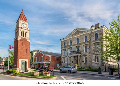 NIAGARA ON THE LAKE,CANADA - JUNE 26,2018 - Clock tower in the streets of Niagara on the Lake. Niagara on the Lake is a town in Ontario, it is located on the Niagara Peninsula.