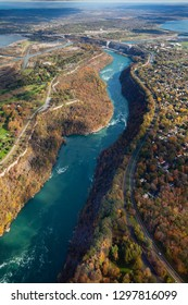 Niagara River Aerial View.  An aerial view along Niagara River located on the Canadian and American border.