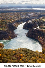 Niagara Whirlpool Aerial View.  An aerial view of Niagara Whirlpool located on the Canadian and American border.