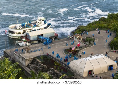 NIAGARA,CANADA-AUGUST 9,2013:boats of the Maid of the Mist tour are boarding tourists and are ready for departure