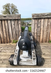 Niagara-On-The-Lake. June 20, 2018. Old Fort historical Sight, cannon and fence.