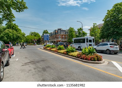 Niagara-on-the-Lake, Ontario, Canada - July 5, 2018:  Looking southeast along Queen Street across King Street at Prince of Wales Hotel.